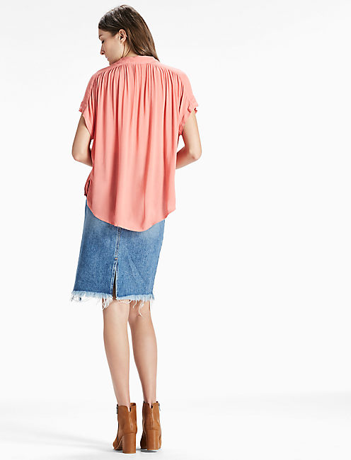 SHORT SLEEVE TOP, FADED ROSE