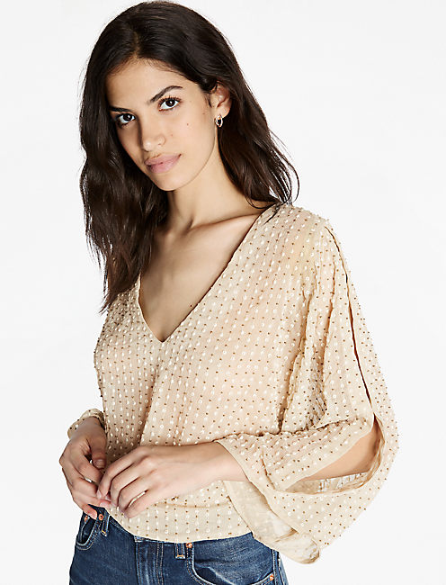 EMBELLISHED TOP, PUTTY