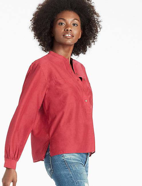 CTN/SILK POPOVER TOP, RUMBA RED