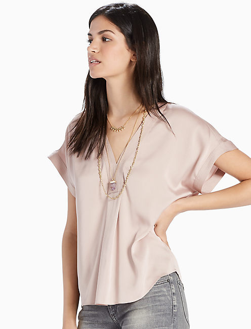 DRAPED SHIRT, CHAMPAGNE