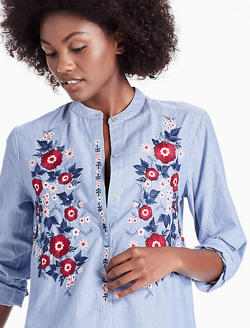POPLIN EMBROIDERED SHIRT, BLUE MULTI