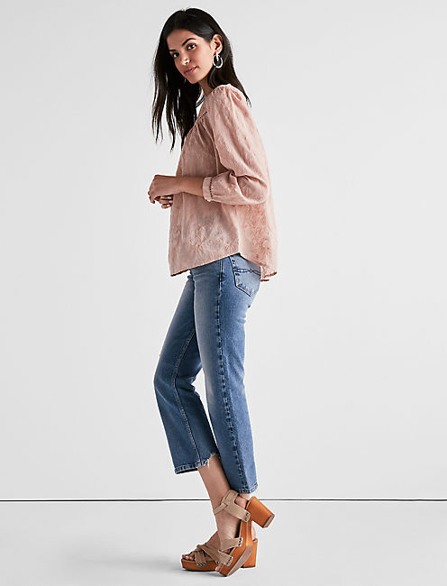Lucky Embroidered Row Neck Top