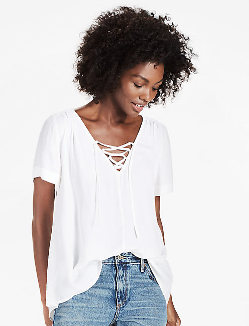 DOBBY LACE UP TOP, LUCKY WHITE