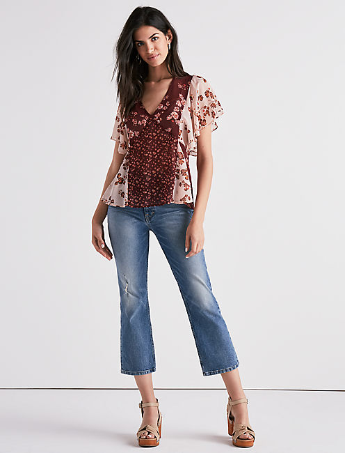 Lucky Mixed Print Floral Top