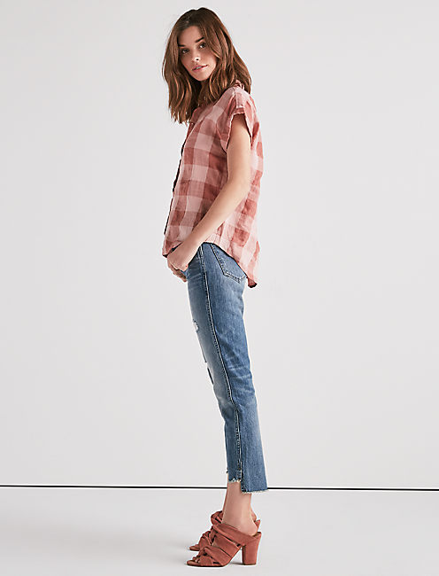 Lucky Plaid Short Sleeve Top