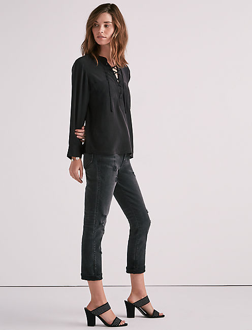 LACE UP SILK TOP,