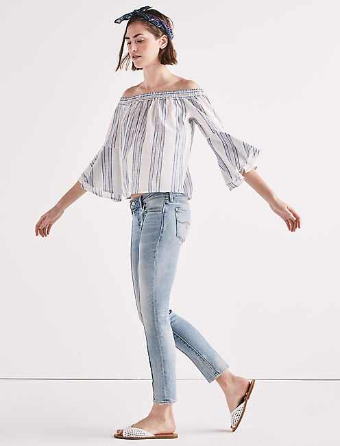 Lucky Off Shoulder Stripe Top