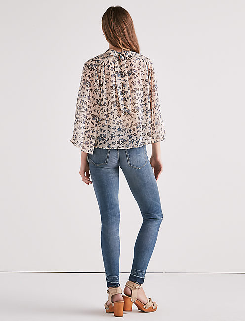 LONG SLEEVE FLORAL GARDEN PRINT TOP, MULTI