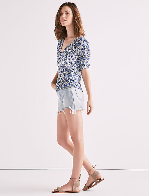 Lucky Blue Floral Printed Top