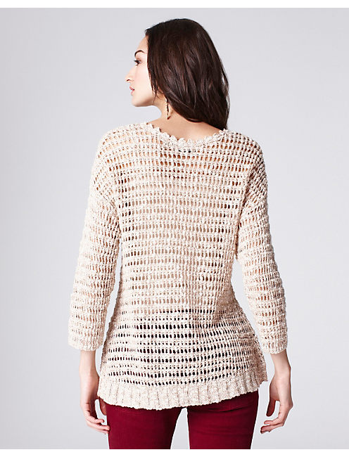 MEG OPEN STITCH SWEATER, NATURAL