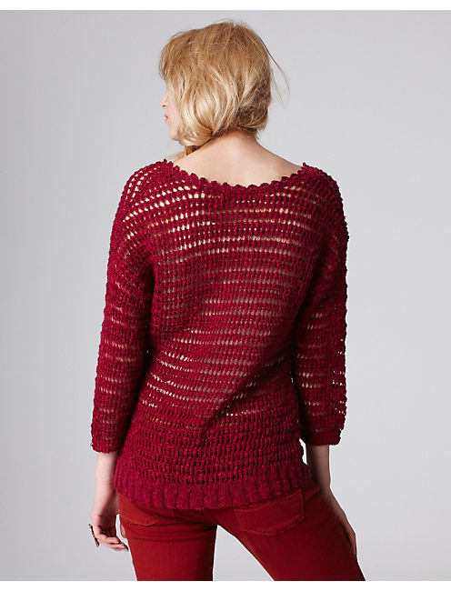 MEG OPEN STITCH SWEATER, VELVET CHERRY