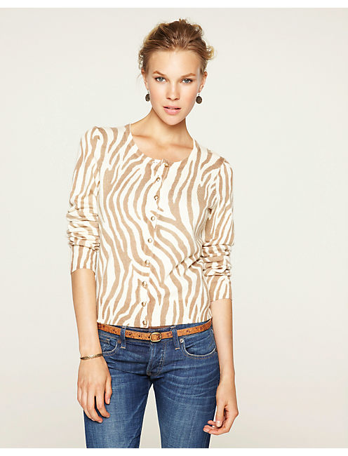 ZEBRA PRINT CARDIGAN, NATURAL MULTI