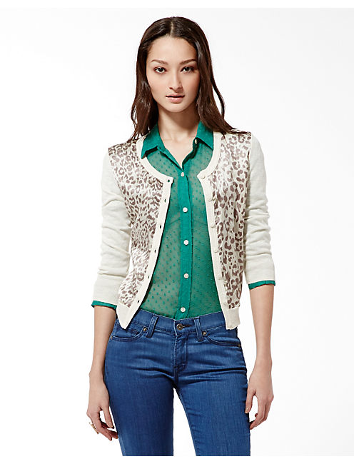 CHARLEEN SILK FRONT CARDI, NATURAL MULTI
