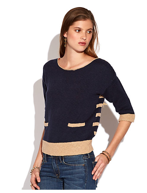 EMMETTE STRIPED SWEATER, AMERICAN NAVY