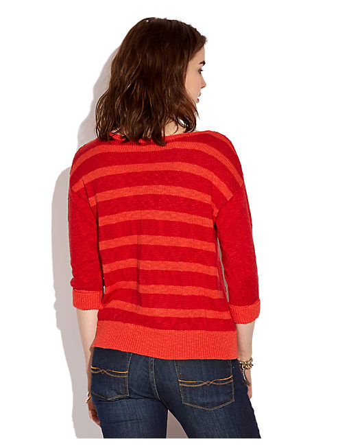 EMMETTE STRIPED SWEATER, #6704 HAUTE RED