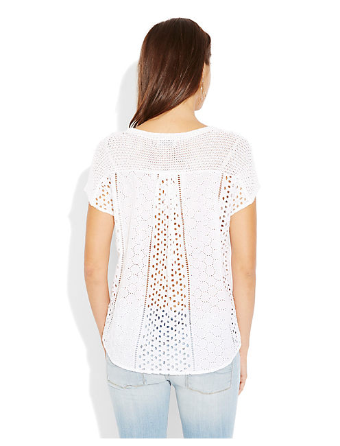 EYELET SWEATER, LUCKY WHITE