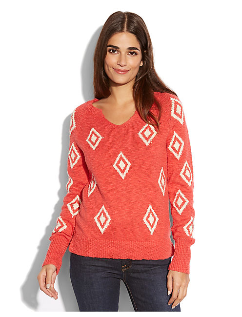 DIAMOND INTARSIA SWEATER, #8361 POINSETTIA