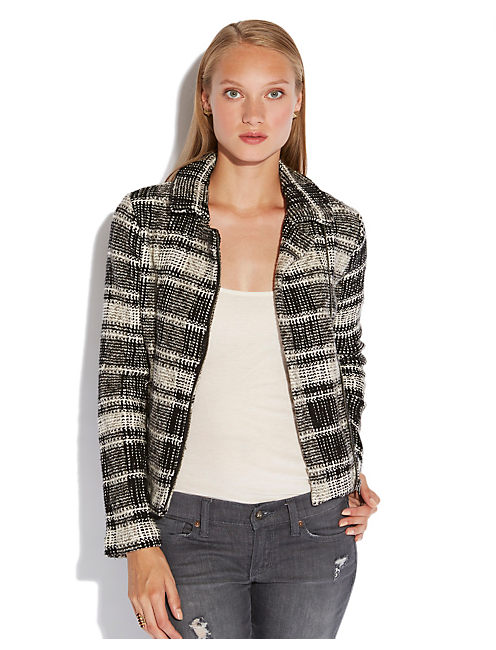 PLAID MOTO SWEATER JACKET, BLACK/WHITE