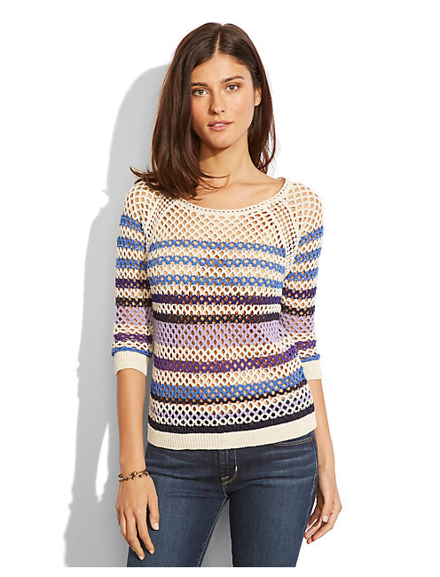 MESH STRIPED SWEATER, MULTI