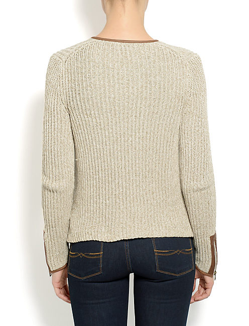 LEATHER TRIM SWEATER, NATURAL MULTI