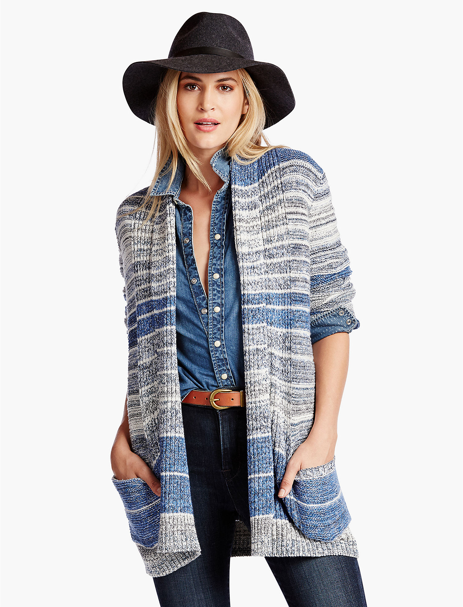 STRIPED SWEATER CARDIGAN - Lucky Brand 2.0