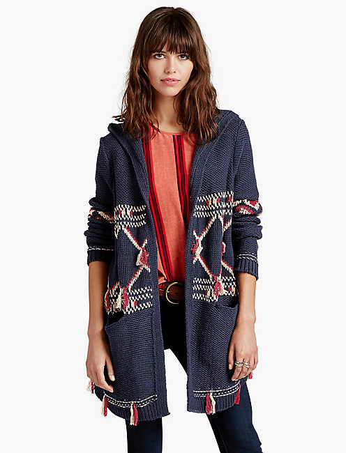 HOODED FRINGE SWEATER - Lucky Brand 2.0