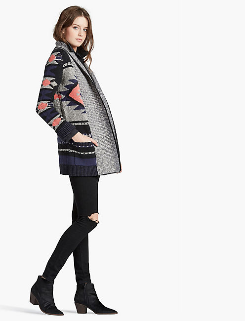 INTARSIA SWEATER COAT,