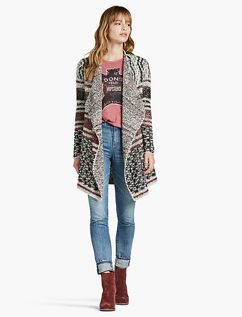 LUCKY MIXED STRIPE CARDIGAN