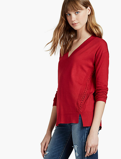 HIGH LOW BRAIDED SWEATER, CHILI PEPPER