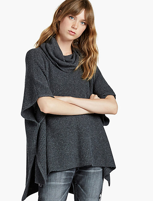 COWL SWEATER PONCHO, HEATHER GREY
