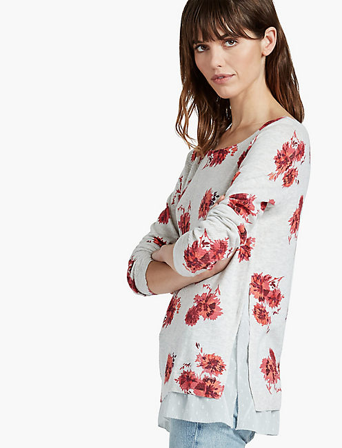 OPEN FLORAL PULLOVER,