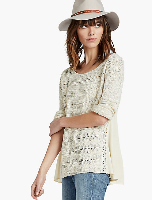 DRAPE BACK WOVEN MIX SWEATER, CREME BRULEE