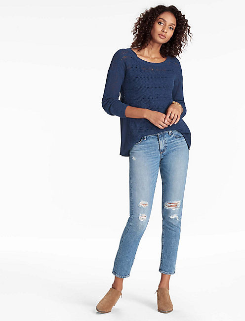 DRAPE BACK WOVEN MIX SWEATER, ECLIPSE