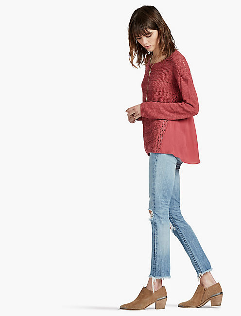 DRAPE BACK WOVEN MIX SWEATER, EARTH RED