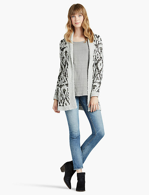 METALLIC BOUCLE CARDIGAN, MULTI