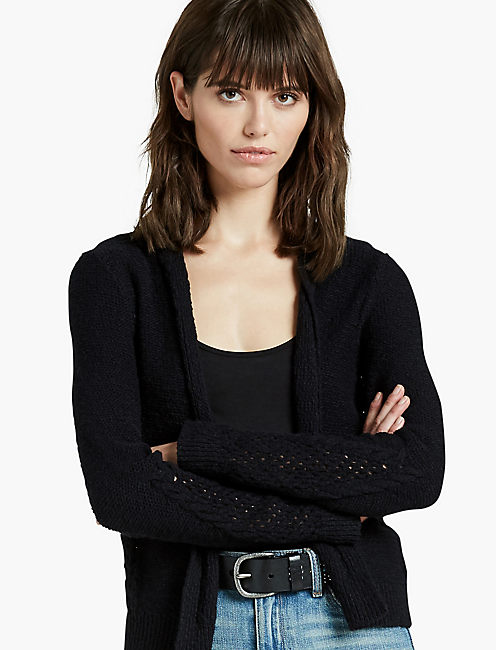 OPEN STITCH CARDIGAN, JET BLACK
