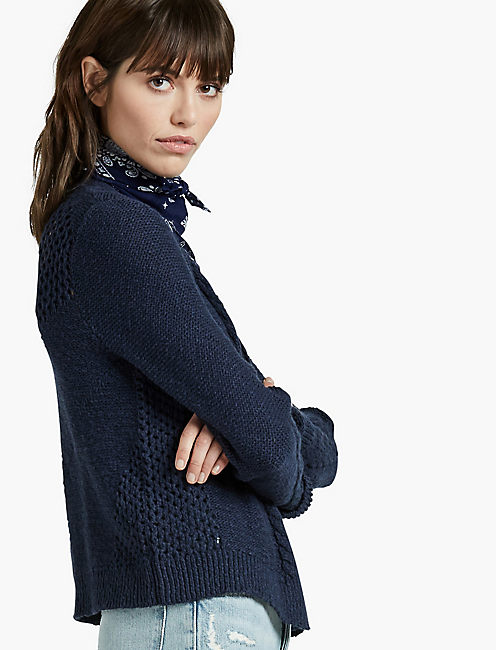 OPEN STITCH CARDIGAN, AMERICAN NAVY