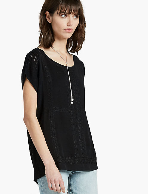 EMBROIDERED SWEATER PONCHO, 001 LUCKY BLACK