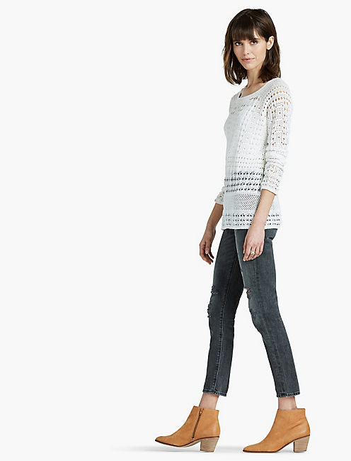 ALL OVER STITCH PULLOVER, SNOW WHITE