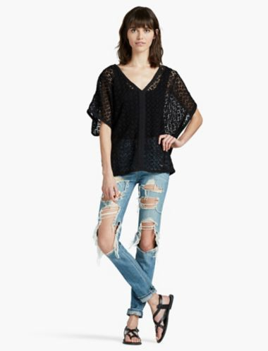 Lucky Sweater Lace Poncho