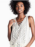 EMBROIDERED SWEATER TANK, GREY MULTI