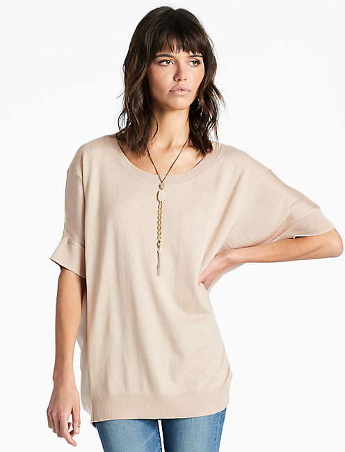 PULLOVER WITH WOVEN FABRIC, CHAMPAGNE