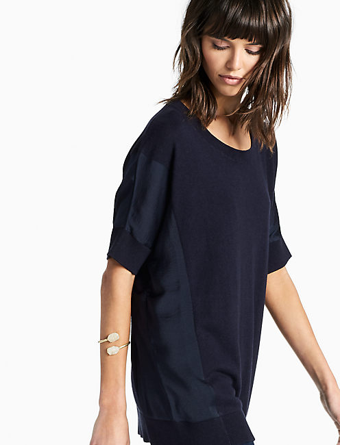 PULLOVER WITH WOVEN FABRIC, NAVY