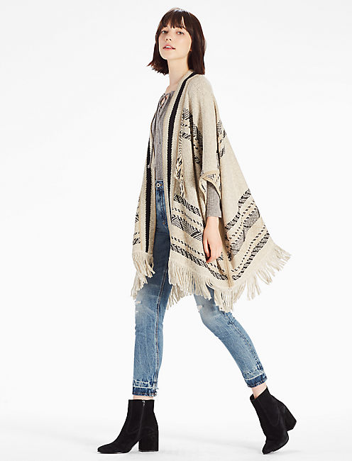 STRIPE PONCHO, NATURAL MULTI