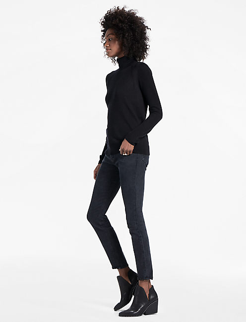 MIX STITCH TURTLENECK, LUCKY BLACK #001