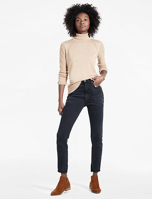 MIX STITCH TURTLENECK, CAPPUCCINO