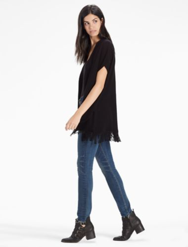 Lucky Cashmere Blend Fringe Poncho