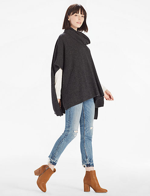 CASHMERE BLEND COWL NECK PONCHO, HEATHER GREY
