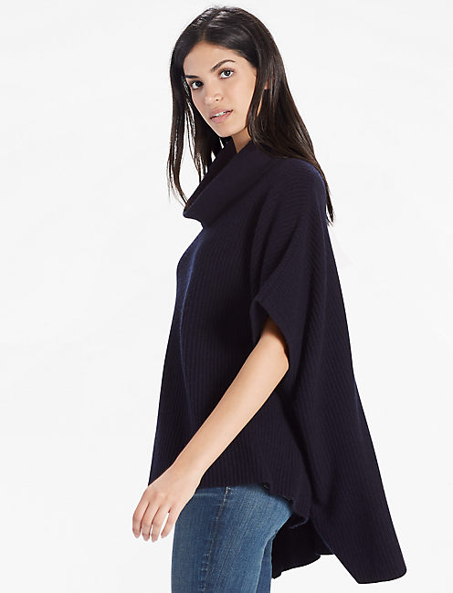 CASHMERE BLEND COWL NECK PONCHO, NAVY