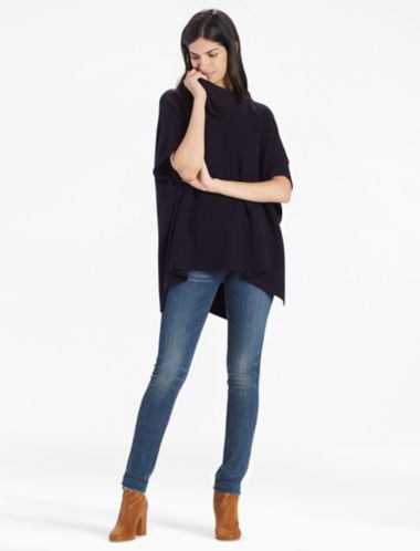 Lucky Cashmere Blend Cowl Neck Poncho